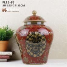 Kundenspezifische Porzellan Blume Vase rote Keramik Vase für Heimtextilien Günstige Modern Design Solid White