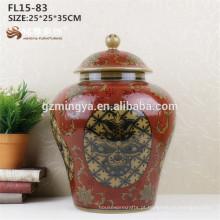 Floração de porcelana personalizada vaso de cerâmica vermelha para decoração de casa Design moderno barato sólido branco