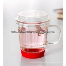 Tasse de thé en verre claire vintage de fantaisie avec la garniture de silicone de couleur