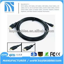 Cable micro de 6FT 1.8M HDMI de alta velocidad con Ethernet, varón de HDMI al varón masculino micro D 1080P