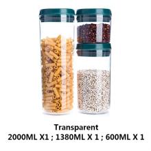 Tarro de plástico transparente para almacenamiento de alimentos en el hogar