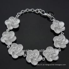 Atacado 925 Prata Pulseiras de flores bonitos para meninas BSS-016