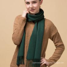 Écharpe de pashmina tricotée cachemire de style vert noir pur de dame de coutume