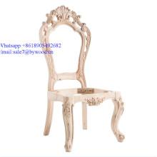 unpainted DIY  Wedding Chair  frame Luxury classic baroque chair Italian solid wood frame