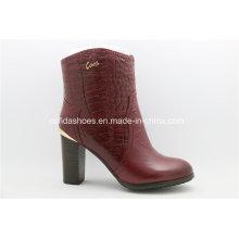 Europe Trendy Comfort High Heels Leather Women Boots