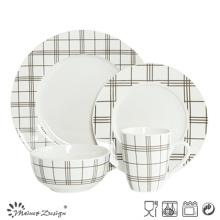 16PCS en porcelaine blanche avec un ensemble de dîner d'impression en carton
