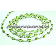 Beautiful Bezel Paridot Beaded Chain, Gemstone Bezel Jewelry Supplier