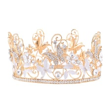 Full Round Butterfly Flower-shaped Pageant Crown For Queen