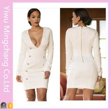 2016 Latest Ladies White V Neck Bodycon Dress