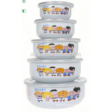 5PCs enamel food warmer lunch box ice bowl with PE lid