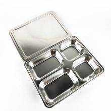 Bandeja 4 platos rectangulares de acero inoxidable, bandeja de comida rápida, metal.