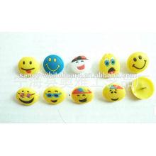 Cartoon, sorrindo, rosto, proteção, plástico, pino