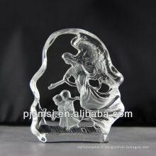 2015 vente chaude Cristal ange, figurines d'ange pour les cadeaux ou décoration à la maison 3d figurines en cristal