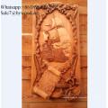 Colgante de pared hecho a mano de estilo europeo, paneles de pared de madera tallada en China