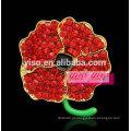 Broche de strass flor vermelha de várias cores