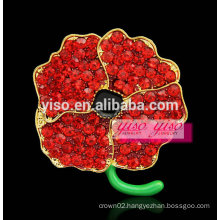 multi color red flower rhinestone brooch