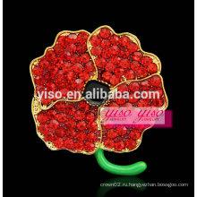 Многоцветный красный цветок горный хрусталь брошь