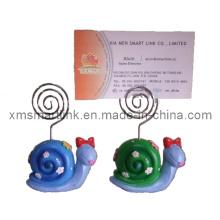 Polyresin Sculpture Décor d'escargot Papier Carte Clip Cadeaux