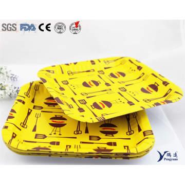 7 Zoll kundenspezifische gedruckte Einweg-Bulk Squre Papierplatten