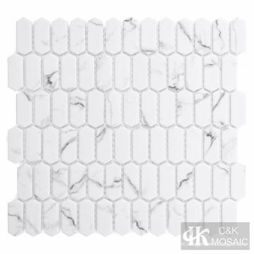Mini Piquete Branco Vidro Mosaico Backsplash