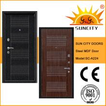 Популярные безопасности стальной лист ПВХ бронированная дверь с МДФ (СК-A224)