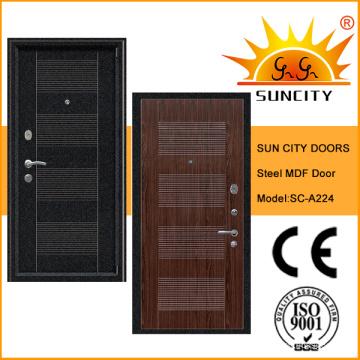Puerta de armadura popular del PVC de la hoja de acero de la seguridad con el MDF (SC-A224)