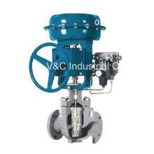 Válvula neumática de control del globo de flujo de vapor