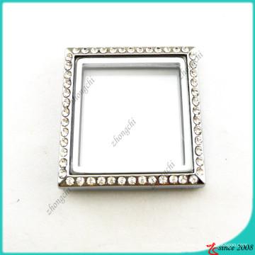 Médaillon carré argenté sans boucles bijoux (FL16041944)