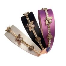 Pearl Rhinestone Wide Headband Luxury Hair Accessories French Korean Bee Chains Hairband Vintage For Women Girls Gift