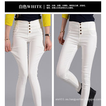 OEM más el tamaño 2015 de alta cintura apta delgada mujer pantalones vaqueros