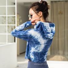 Sweat à capuche ample à manches longues imprimé Tie-Dyeing