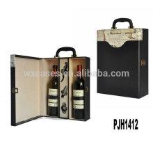 Nueva llegada de cuero vino estuche para 2 botellas de China fabricante
