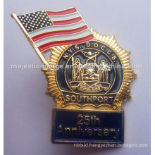 Gold Plated Soft Enamel American Anniversary Badge