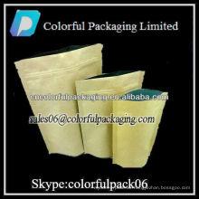 Aluminiumfolie Kraftpapier Zip-Lock-Tasche für Lebensmittel / Handwerk Papiertüte Reißverschluss für freies wholeasle
