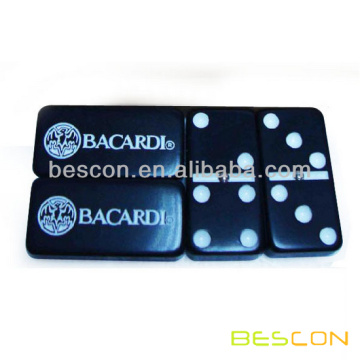 Black Plastic Custom Domino Set with Personalized Engraving