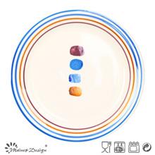 Plato de cena multicolor con lunares