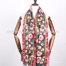 impressão digital floral padrão xale de lã mercerizado para mulheres