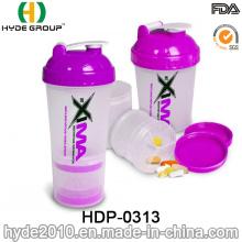 Botella plástica libre de la sacudida del polvo de 2016 BPA de la venta caliente con la bola del acero inoxidable (HDP-0313)