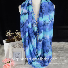 Lady's printed infinity scarf loop scarf with pompom design