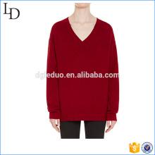 Suéter de punto en V de punto elástico con costuras, como su suéter de diseño personalizado