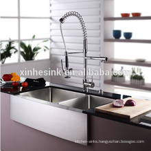 Handmade R10&R15/Zero Radius Stainless Steel Kitchen Sink with Full/Semi Apron Front