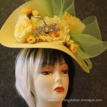 Yellow Kentucky Derby Fascinator Downton Abbey Tea Party Garden Party Easter Church Wedding Special Occasion