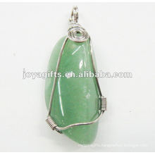 wire wrapped green aventurine pendant