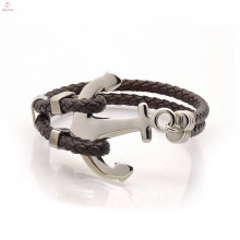 Stainless Steel Anchor Leather Bracelet Designed For Men