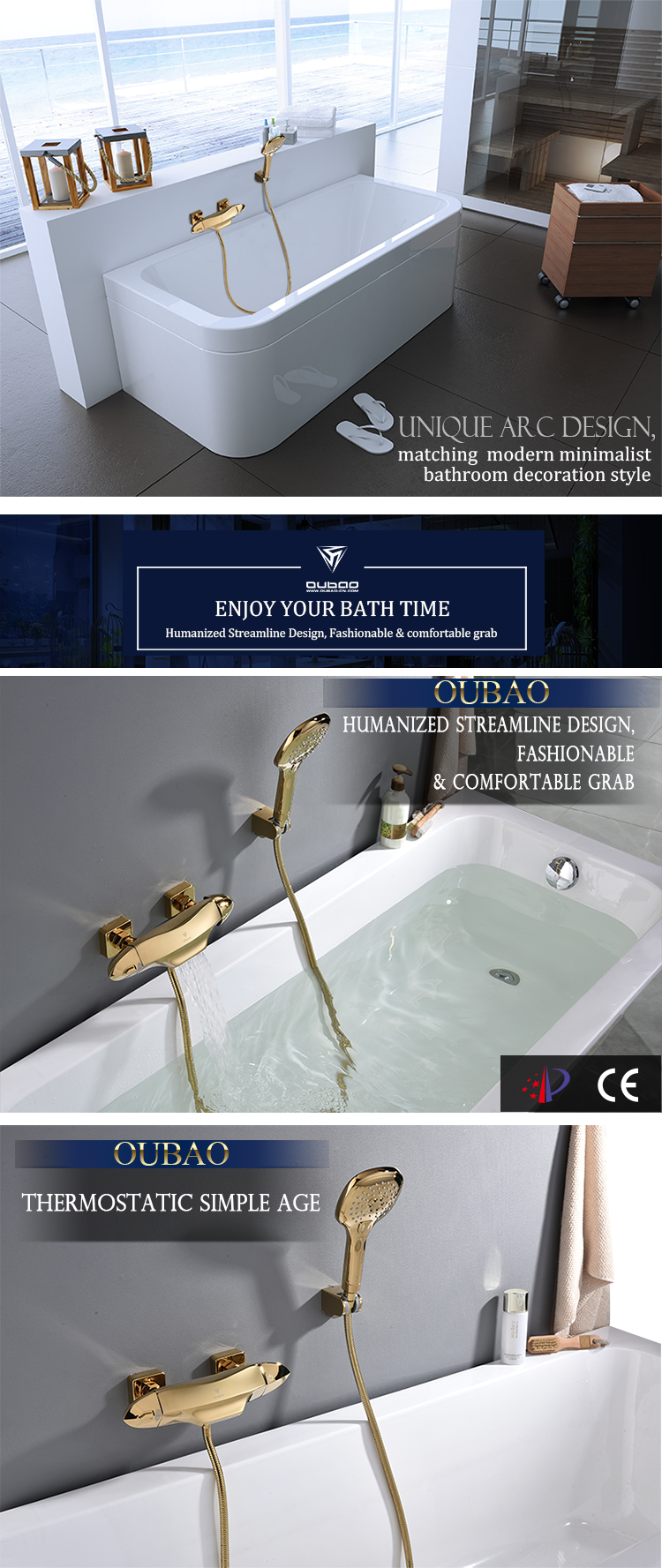 Golden bath faucet
