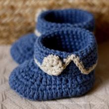 Ребенок младенца новорожденного мальчика носки Prewalker Handmade вязания крючком обувь