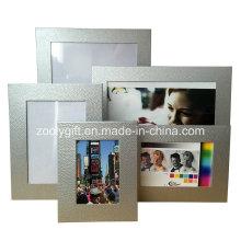 Серебристо-текстурированная фоторамка с художественной бумагой Рекламные подарочные рамки