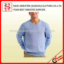 Fashion blue v neck long sleeve pullover man sweater