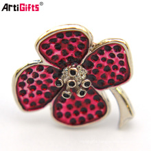 Wholesale Custom Cheap Metal Bulk Korean Magnet Rhinestone Flower Brooch Pin