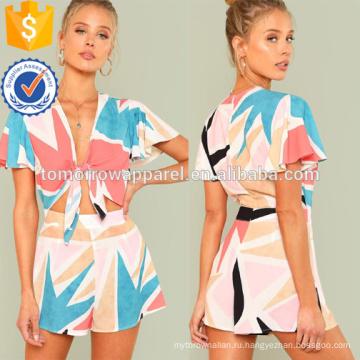 Multiclolor расклешенный рукав узел спереди комбинезон ОЕМ/ODM Производство Оптовая продажа женской одежды (TA7002J)